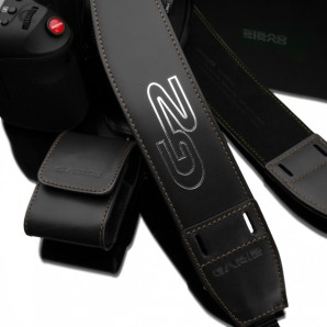 Gariz Ergonomic Leather Neck Strap : Black