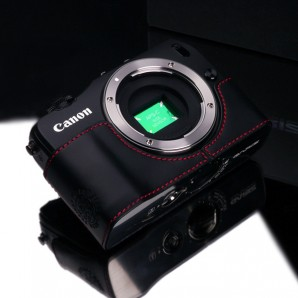 Gariz Leather Half-case for Canon EOS M: Black/Red (XS-CHMBKR)