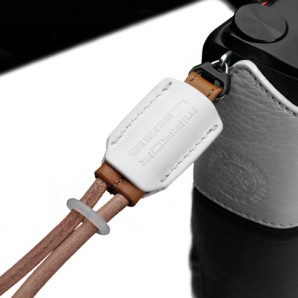 Gariz Leather Wrist Strap : White  Brown (XS-WB7)