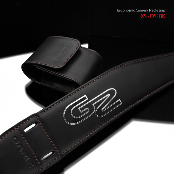 Gariz Ergonomic Leather Neck Strap XS-DSLBK : Black