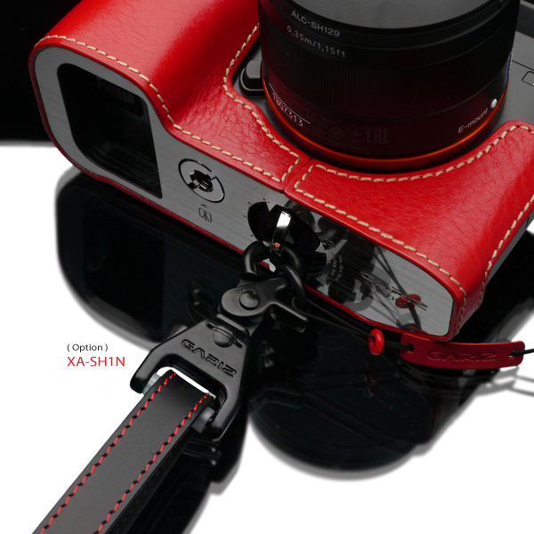 Gariz Leather Neck Strap : Red (XS-CHLSNRB2)