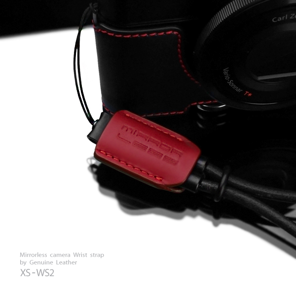 Gariz Leather Wrist Strap XS-WS2  Red